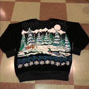 Vtg printed winter Crewneck sweatshirt md